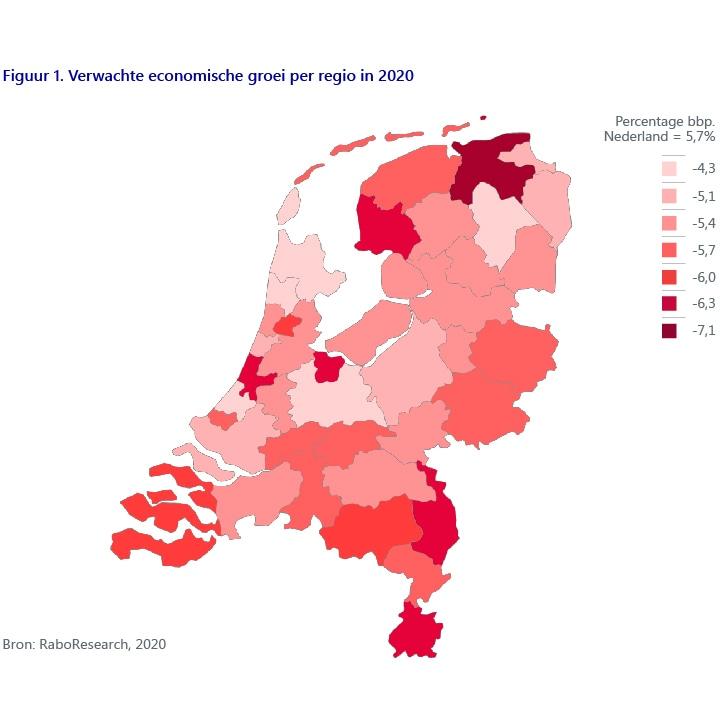 Figuur 1. Verwachte economische groei per regio in 2020