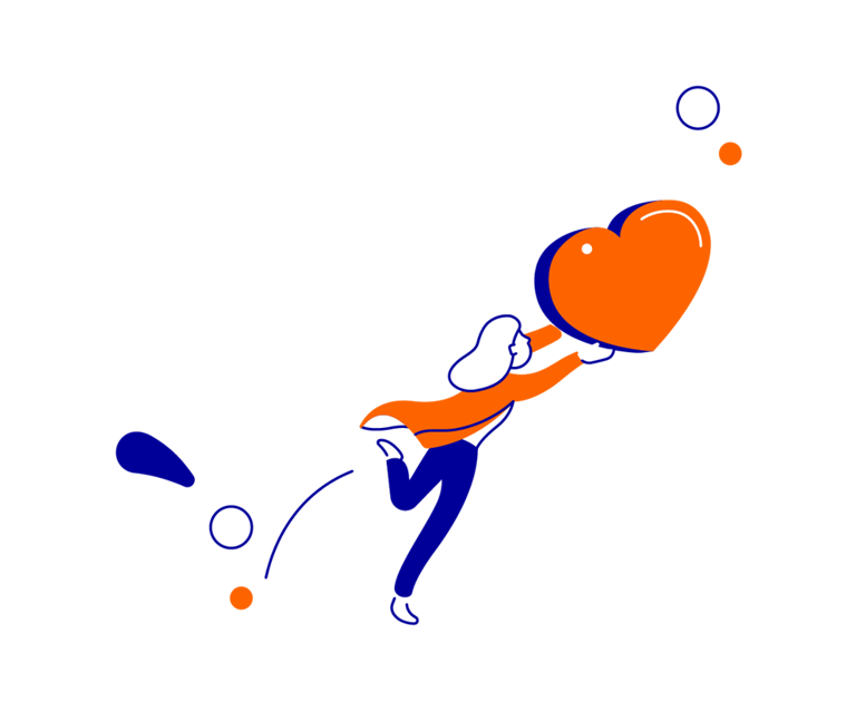 Illustration person with heart