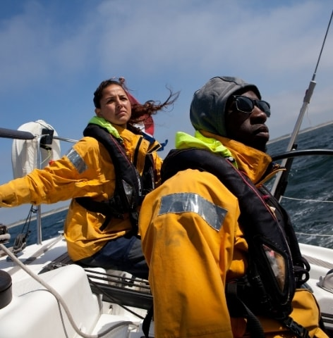 Two young Sea Rangers in a boat on the North Sea